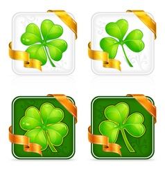 Square clover button vector