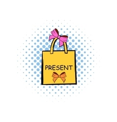 Paper bag with bows comics icon vector