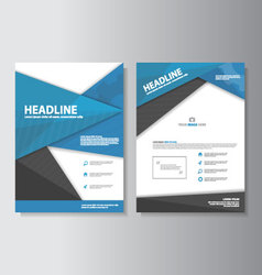 Blue black brochure flyer leaflet presentation set vector
