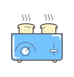 Toaster and bread on white vector