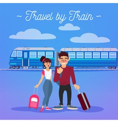 Train travel active people girl with baggage man vector