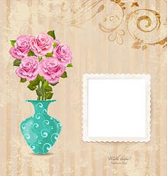 vintage greeting card with vase of roses on a old vector image