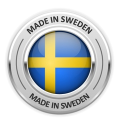 Silver medal made in sweden with flag vector