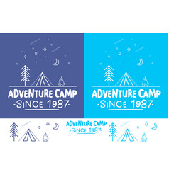 Adventure camptrendy camping label hand drawn t vector