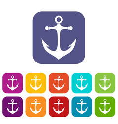 Anchor icons set flat vector