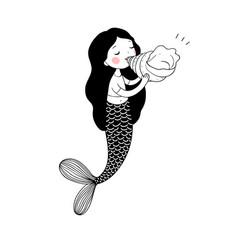 Beautiful little mermaid with seashell siren sea vector