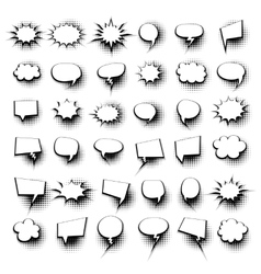 Big set 36 hand drawn comic speech bubbles vector image