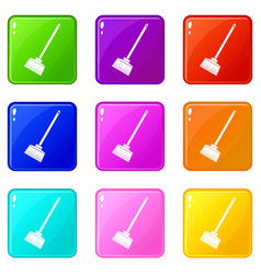 Broom set 9 vector
