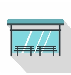 Bus stop icon flat style vector image vector image