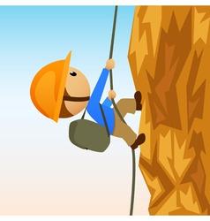 cartoon rock climber on vertical cliffside vector image