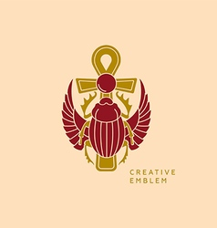 Creative emblem on egyptian scarab with wings and vector