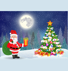 cute snowman decorating a christmas tree vector image