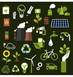 Environment and recycling flat icons vector image vector image