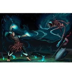 Fighting scene between magician and skeleton vector