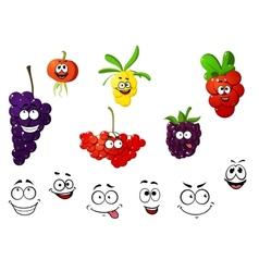 Fresh cartoon berries set vector