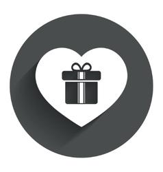 Gift box sign icon love present symbol vector