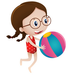girl playing with beach ball vector image