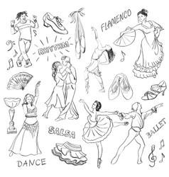 Hand drawn Dance collection vector image vector image