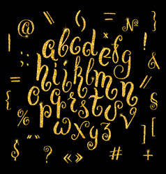 Hand drawn glitter golden alphabet in calligraphy vector