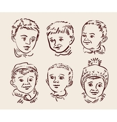 Hand drawn sketch set children vector