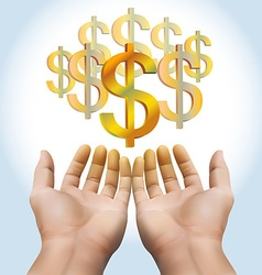 Hand receiving money or gold vector