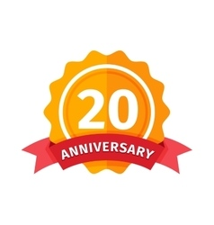 Happy twentieth birthday badge icon vector image