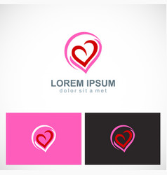 love heart valentine abstract logo vector image vector image