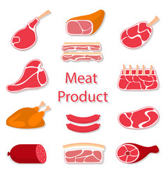 meat products flat vector image