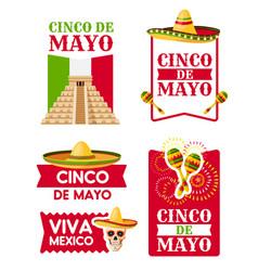 Mexican cinco de mayo badge of sombrero maracas vector