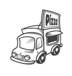 Pizza car vector