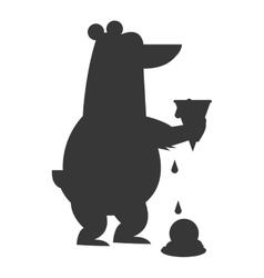 Polar bear holding melted ice cream icon vector