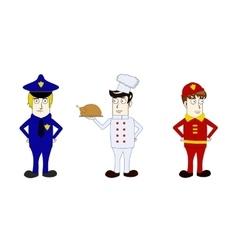 Professions policeman cook fireman vector