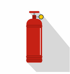 Red compressed gas container icon flat style vector
