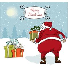 Santa coming christmas greeting card vector