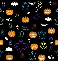 Seamless halloween ghost bats pumpkins pattern o vector