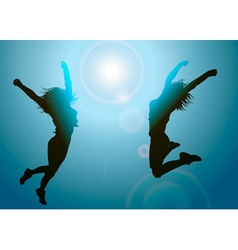 Silhouettes of Jumping Girls vector image vector image
