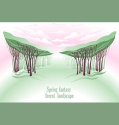 Spring fntasy forest landscape vector image