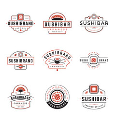 sushi shop logos templates set object and vector image