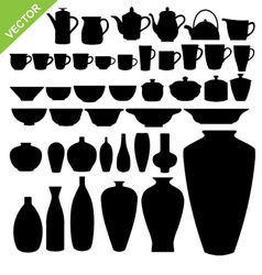 Tableware silhouette vector image vector image