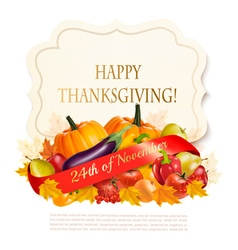 Thanksgiving background with autumn fruit and vector image vector image