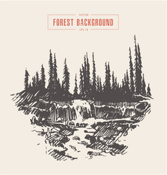 vintage river waterfall fir forest drawn sketch vector image vector image