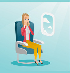 Young caucasian woman suffering from aerophobia vector