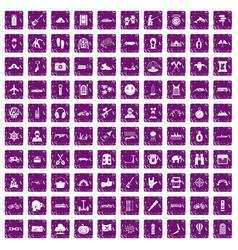 100 adventure icons set grunge purple vector image vector image
