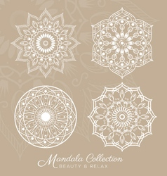 Set of mandala decorative ornament design vector