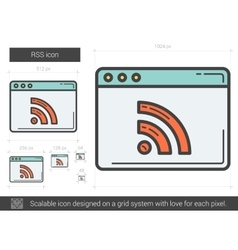 Rss line icon vector