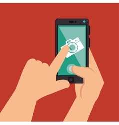 hands holds smartphone camera picture design vector image