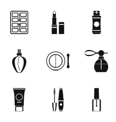 Cosmetic products icons set simple style vector