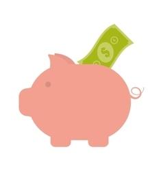 piggy money bill dollar safety icon vector image