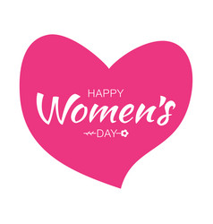 Womens day lettering background on pink heart vector