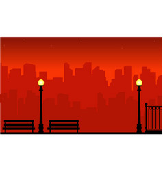 On red background city with street lamp scenery vector
